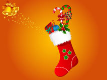 Illustration of Xmas stocking. Illustration of Christmas stocking and golden bell Royalty Free Stock Image
