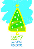 Illustration  xmas tree with christmas decoration for happ. Y new year 2017 on color background. Free hand drawn element of design  image color fir for Stock Image