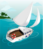 Illustration of a yacht Royalty Free Stock Photography