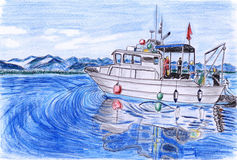Illustration Yacht fishing Royalty Free Stock Photos