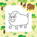 Illustration of yak on a white background Stock Photography