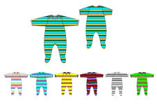Illustration of yarn dye stripe jersey fabric baby boy romper design template Royalty Free Stock Images