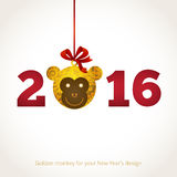 Illustration of 2016 year of the monkey. Symbol of 2016. Monkey head, decorated gold floral patterns. Vector element for New Year's design. Illustration of 2016 Royalty Free Stock Images