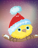 Illustration of yellow bird with santa hat Stock Photos