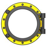 Illustration of a yellow black ship porthole Stock Image