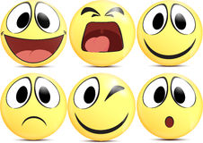 Yellow Cartoon Emoticons Stock Image