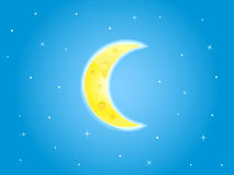 Illustration Of Yellow Crescent On cyan Sky Royalty Free Stock Images