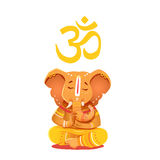 Illustration yellow Ganesh with Om symbol. Royalty Free Stock Photo