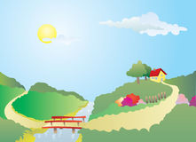 House on the Hill. A illustration of a yellow house on the hill with road akross the river Stock Photo