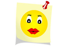 Illustration of a yellow note with a happy face Stock Photos