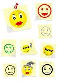 Illustration of a yellow notes with some faces Stock Photos
