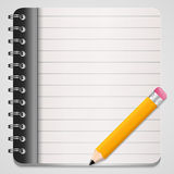 Illustration of yellow pencil with coil bound note Royalty Free Stock Images