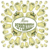Illustration with yellow peppers drawn by hand with colored pencil and with logotype in center. Drawing with crayons. Fresh tasty vegetables painted from nature Stock Photos