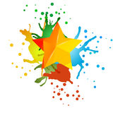 Illustration with yellow star and colored watercolor spots Royalty Free Stock Image