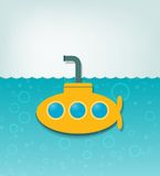 Illustration with a yellow submarine. Creative vector illustration with a yellow submarine Stock Photos