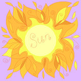 Illustration of a yellow sun with a place for your text Stock Image