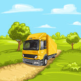 Illustration of a yellow truck Stock Images
