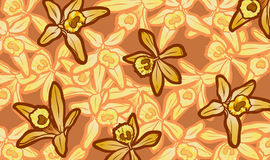 Illustration of yellow vanilla flowers on flower background Royalty Free Stock Images