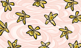 Illustration of yellow vanilla flowers on whipped cream background Stock Photos