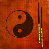 Illustration yin and yang. Artwork with chinese symbol for yin and yang, art with digital and painted elements Royalty Free Stock Image