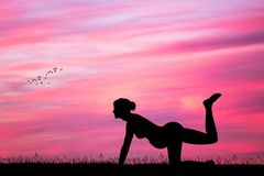 Yoga for pregnant women at sunset. Illustration of yoga for pregnant women at sunset Royalty Free Stock Images