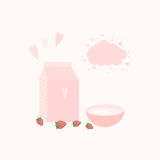 Illustration with yoghurt and berries on a table. Illustration with package of yogurt, cup and strawberries on a table Stock Photos