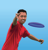 Illustration of Young Asian Man Throwing Disc Stock Photography