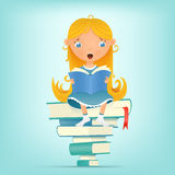 Illustration with young blonde girl sitting on pile of books while reading Royalty Free Stock Photography