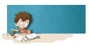 Boy studying at breakfast Royalty Free Stock Images