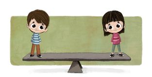 Gender equality concept. Illustration of a young boy and girl each standing on an end of a seesaw, keeping the seesaw equal distance from the ground on both royalty free illustration