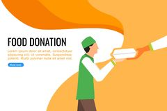 A Young Boy Receiving Food from Nearby Food Donation royalty free illustration