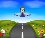Young boy riding a plane on a beautiful scene. Illustration of young boy riding a plane on a beautiful scene Stock Photo