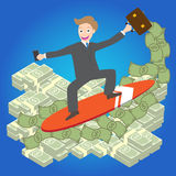 Illustration of Young businessman surfing money wave on blue background  Stock Photo