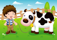 Illustration of Young cattle and cow in farm Royalty Free Stock Photo