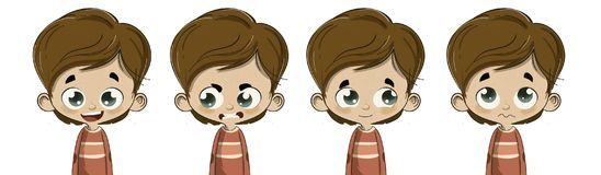 Child with different facial expressions. Illustration of young child with different facial expressions and emotions royalty free illustration