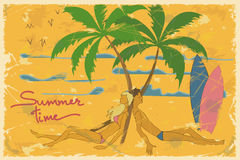 Illustration of young couple lying under palm tree Royalty Free Stock Image