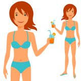 Illustration of young cute girl in swimsuit Royalty Free Stock Images