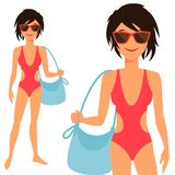 Illustration of young cute girl in swimsuit Royalty Free Stock Image