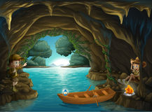 A young girl and boy inside the cave stock illustration