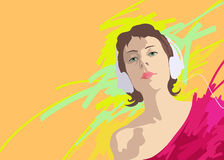 Illustration of a young girl in headphones Royalty Free Stock Photography
