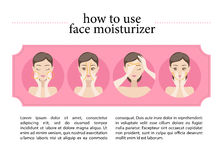 Illustration of young girl putting on her face moisturising cream. Stock Image