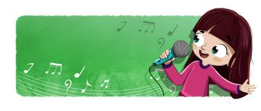 Girl singing with microphone illustration. Illustration of a young girl singing into a microphone in her hand on a green rectangular background with musical Stock Image