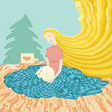 Illustration of young girl sitting at the floor with gift cat Royalty Free Stock Image