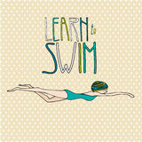 Illustration of a young girl swimming. With learn to swim text Royalty Free Stock Photo