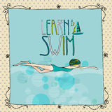 Illustration of a young girl swimming. Vector Illustration of a young girl swimming with learn to swim text Stock Image