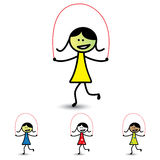 Illustration of young girls playing skipping game & having fun Stock Photo