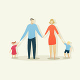 Illustration of young happy family with father, mother, boy and Stock Photo