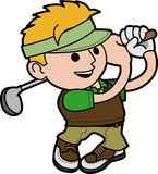 Illustration young man golfing Stock Photos