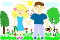 Illustration of young man and woman on nature Stock Images