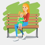 Illustration of young mother with daughter Stock Photography